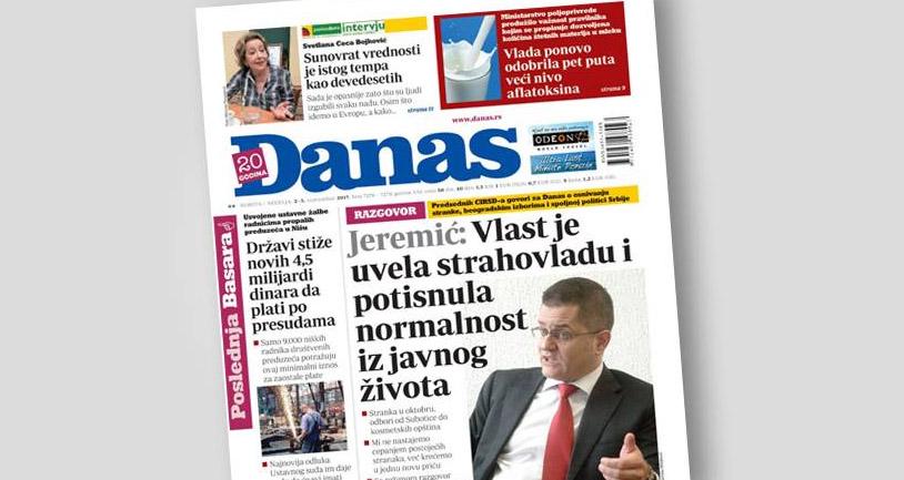 Јеремић: Власт је увела страховладу и потиснула нормалност из јавног живота